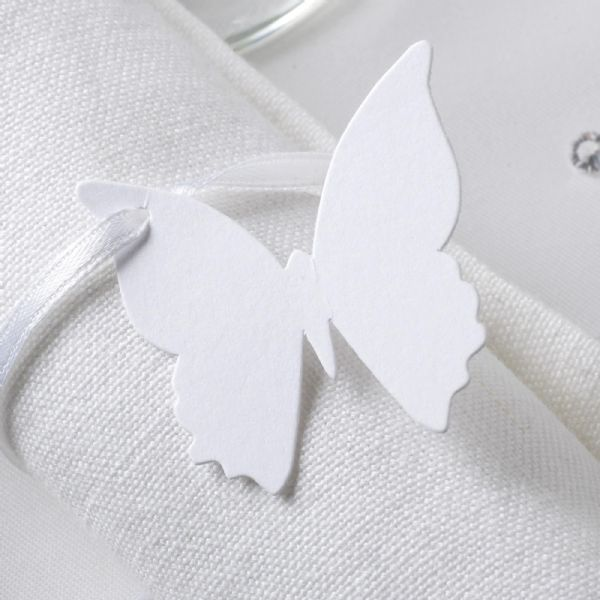 Elegant Butterfly Favour Tags - White (10)
